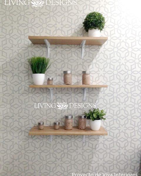 plantillas para paredes; pintura; stencil; damasco; decoracion;