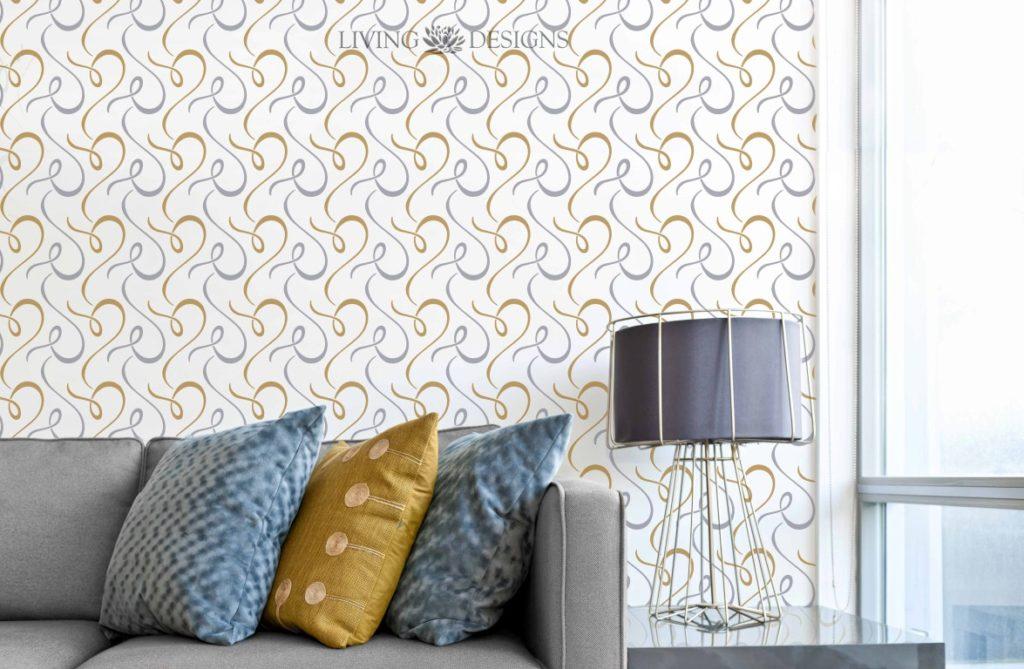 Plantilla decorativa stencil para el dise o de interiores - Plantillas de letras para pintar paredes ...