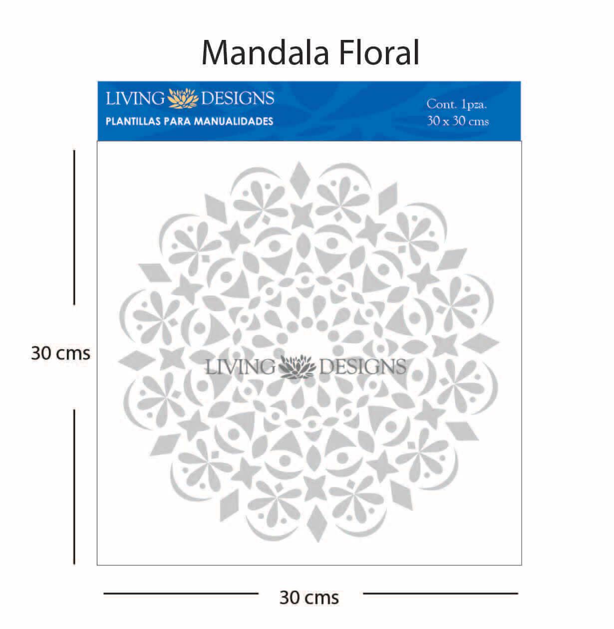 Plantilla para manualidades mandala floral plantillas - Plantilla mandala pared ...